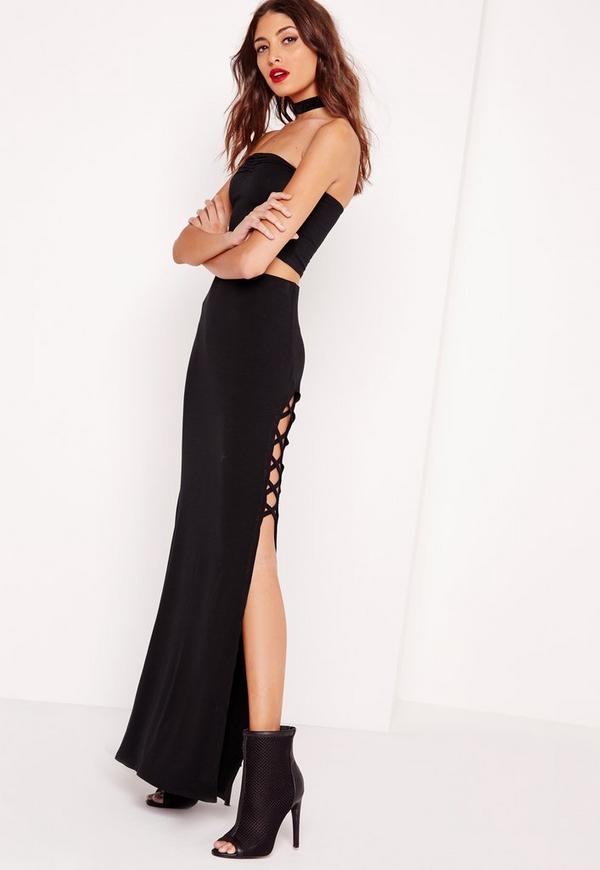 Lace Up Jersey Maxi Skirt Black