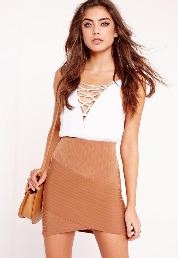 Ribbed Asymmetric Mini Skirt Tan