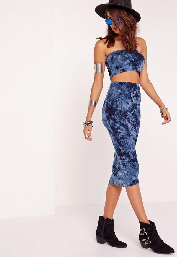 Tie Dye Midi Skirt Blue