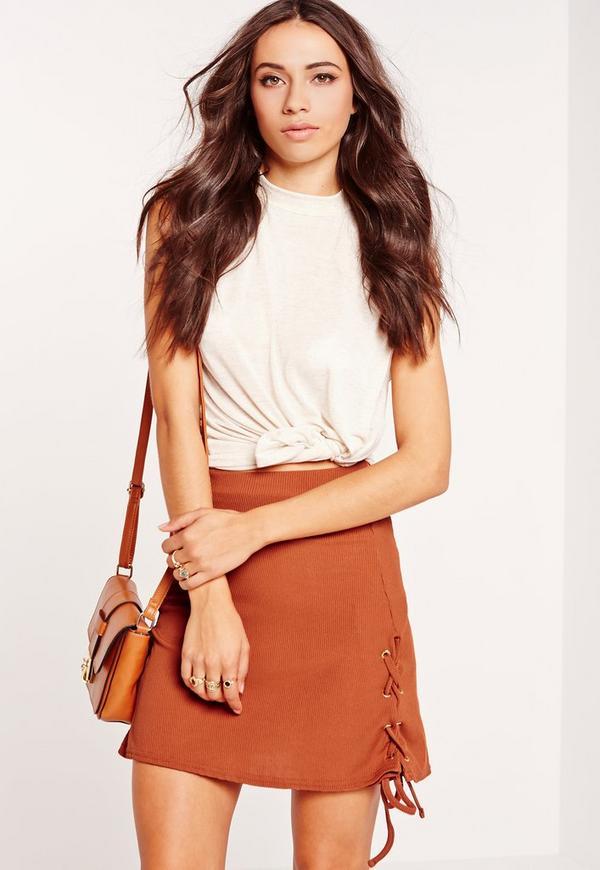 Lace Up Hem A-Line Skirt Orange