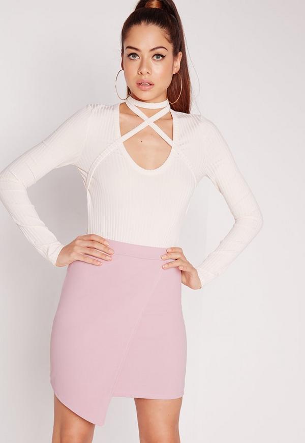 Scuba Wrap Asymmetric Mini Skirt Lilac