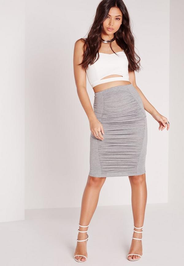 Ruched Detail Midi Skirt Grey