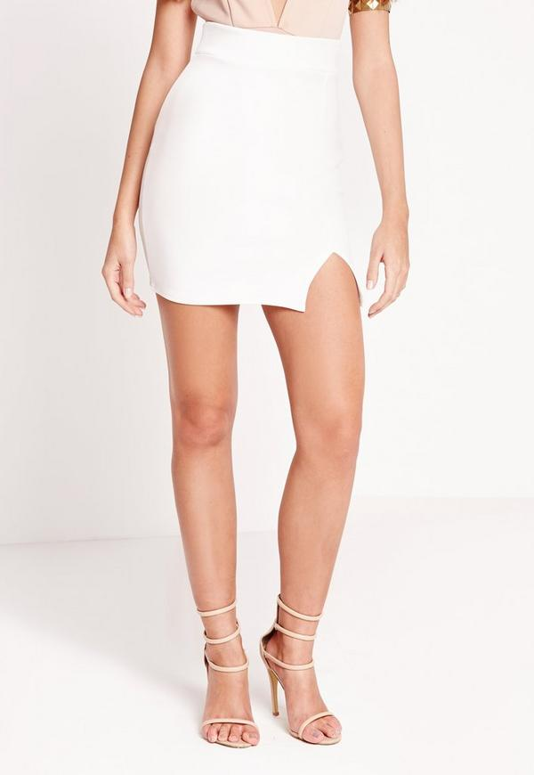 Scuba Split High Waist Mini Skirt White | Missguided