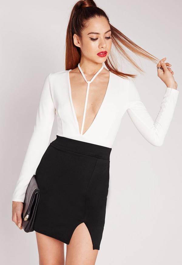 Scuba Split High Waist Mini Skirt Black