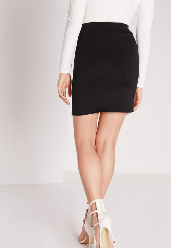 Scuba Split High Waist Mini Skirt Black | Missguided