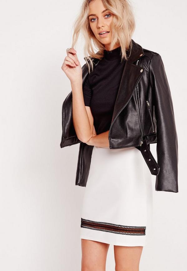 Insert Detail A-Line Midi Skirt White