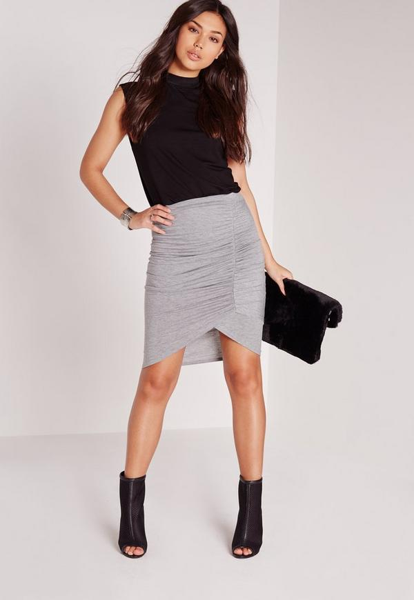 Ruched Front Jersey Midi Skirt Grey