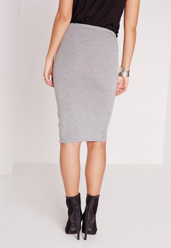 ruched front jersey midi skirt grey missguided