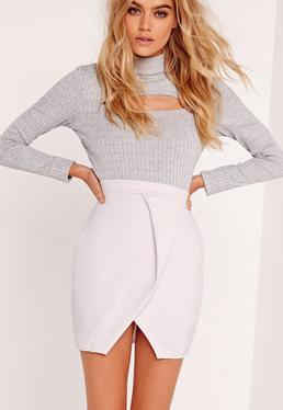 Origami Wrap Scuba Mini Skirt Grey