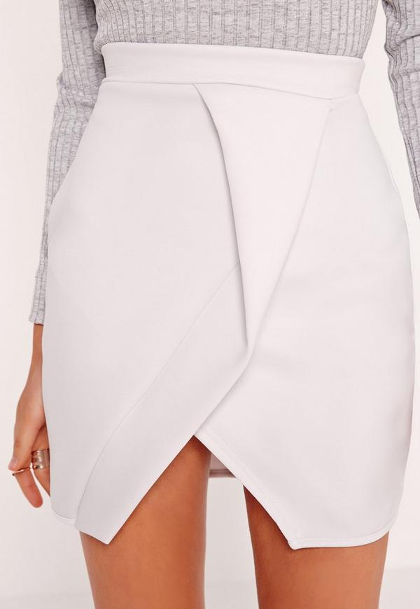 Origami Wrap Scuba Mini Skirt Grey Missguided