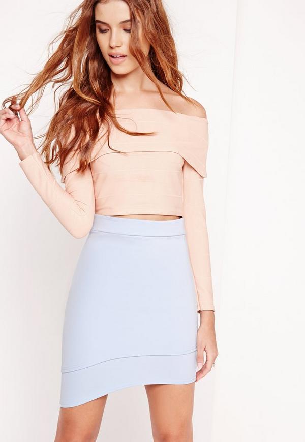 Curve Hem Scuba Mini Skirt Blue