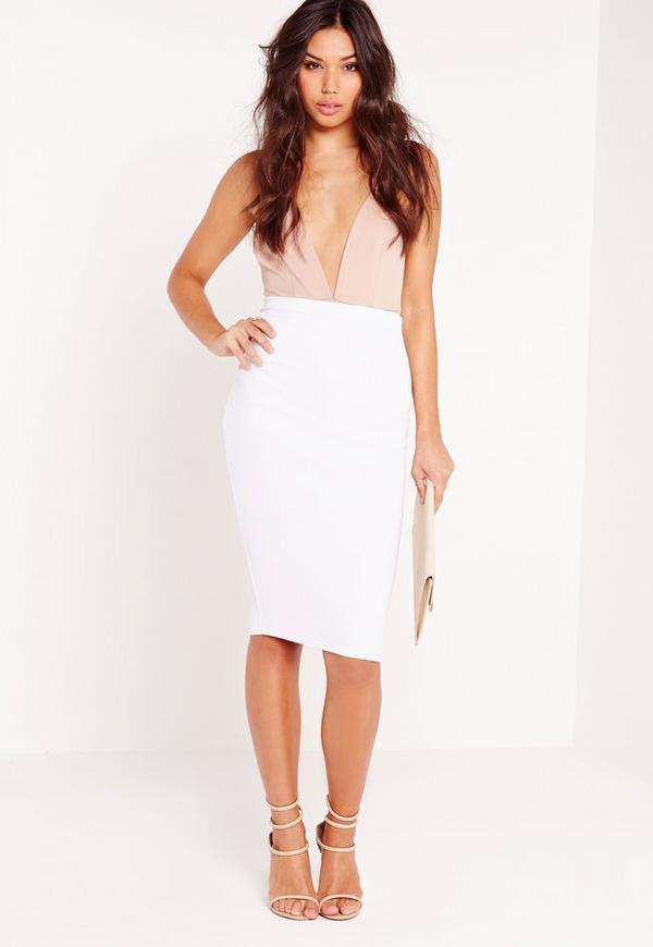 Scuba Midi Skirt White