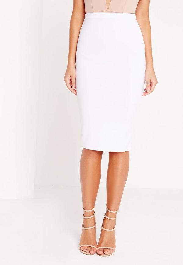 scuba midi skirt white missguided
