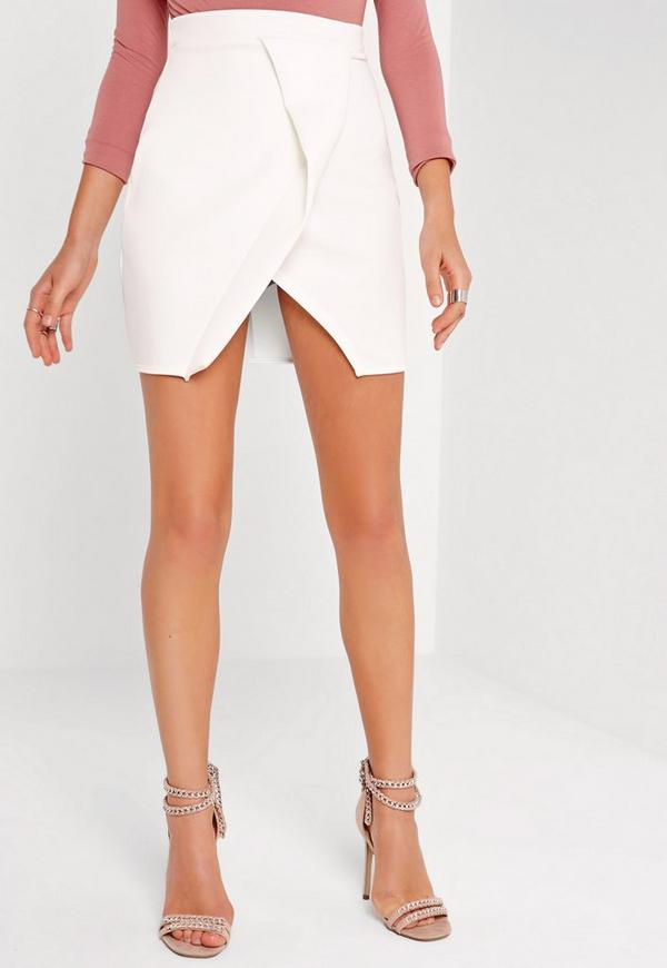 Origami Wrap Scuba Mini Skirt White Missguided
