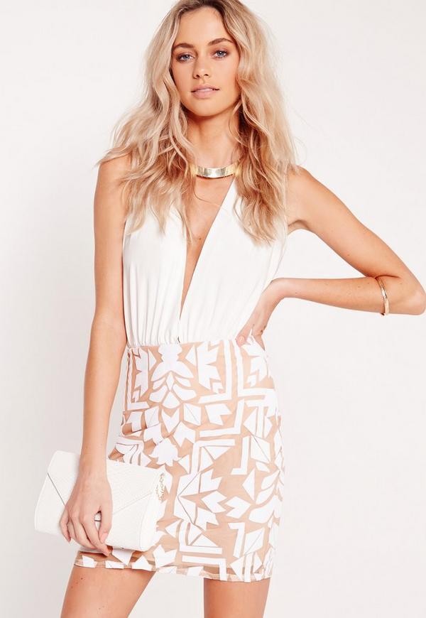 Flocked Mini Skirt White