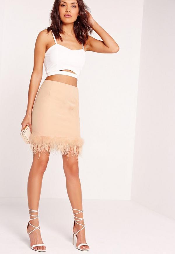 Feather Hem Mini Skirt Nude