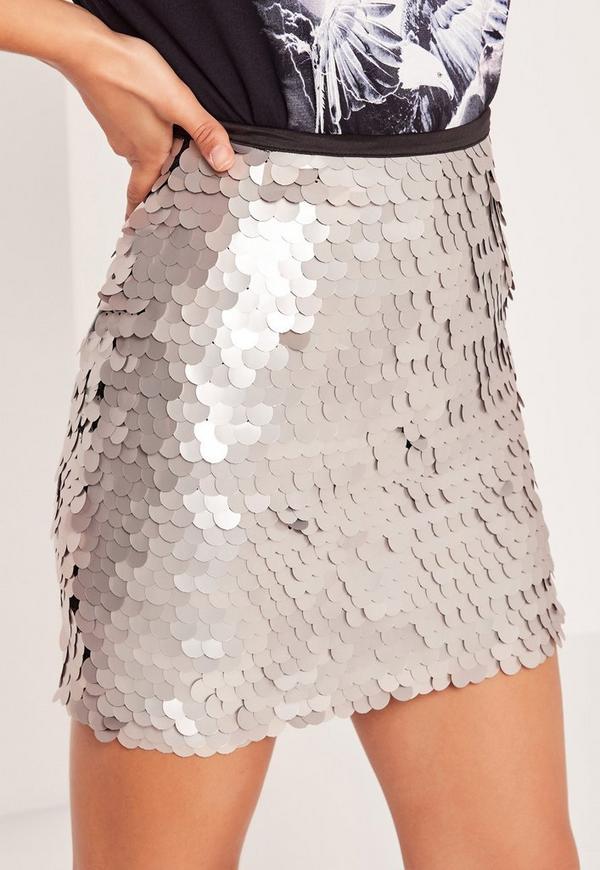 Metallic Sequin Mini Skirt Silver Grey | Missguided