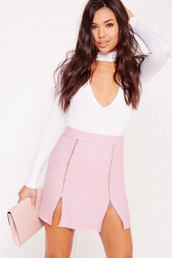 Zip Detail A-Line Skirt Lilac