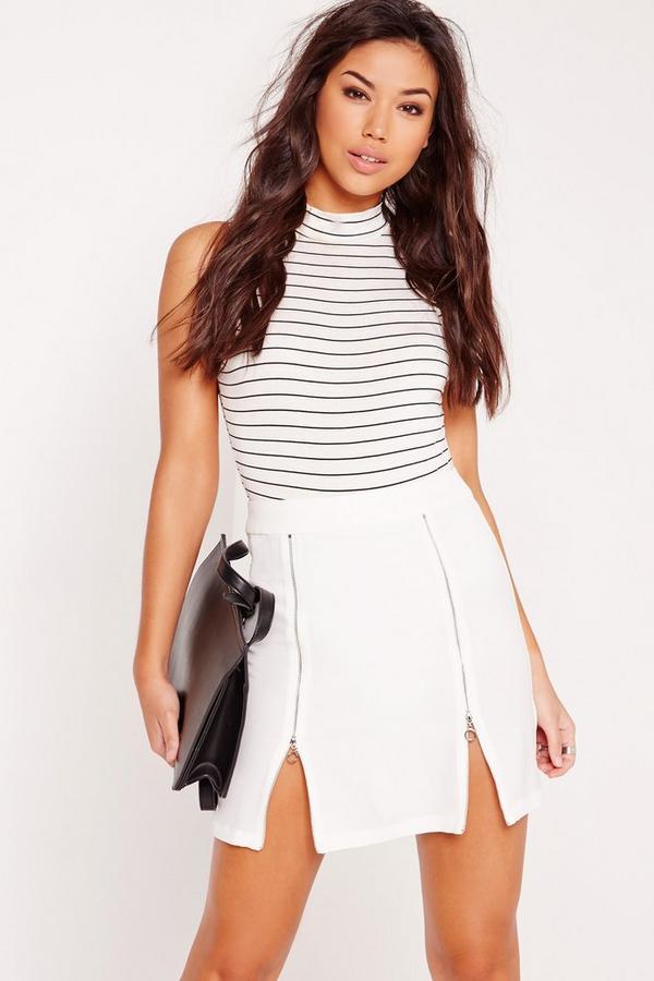 Zip Detail A-Line Skirt White