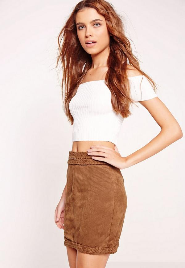 Plait Detail Faux Suede Mini Skirt Tan