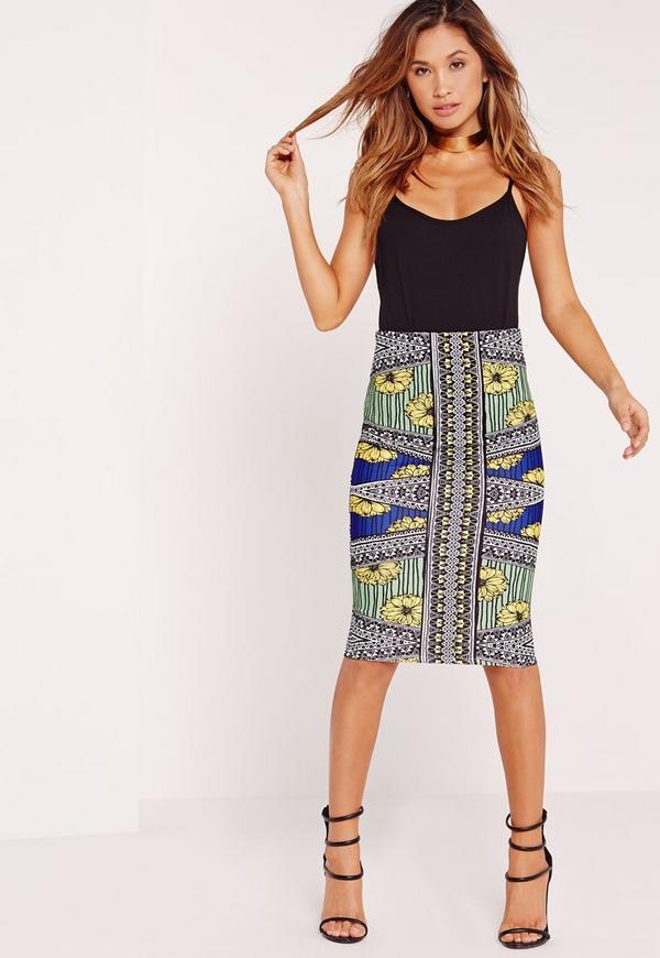 Floral Aztec Print Midi Skirt