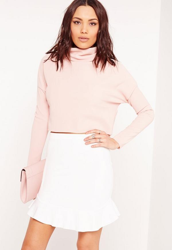 Frill Hem Scuba Mini Skirt White