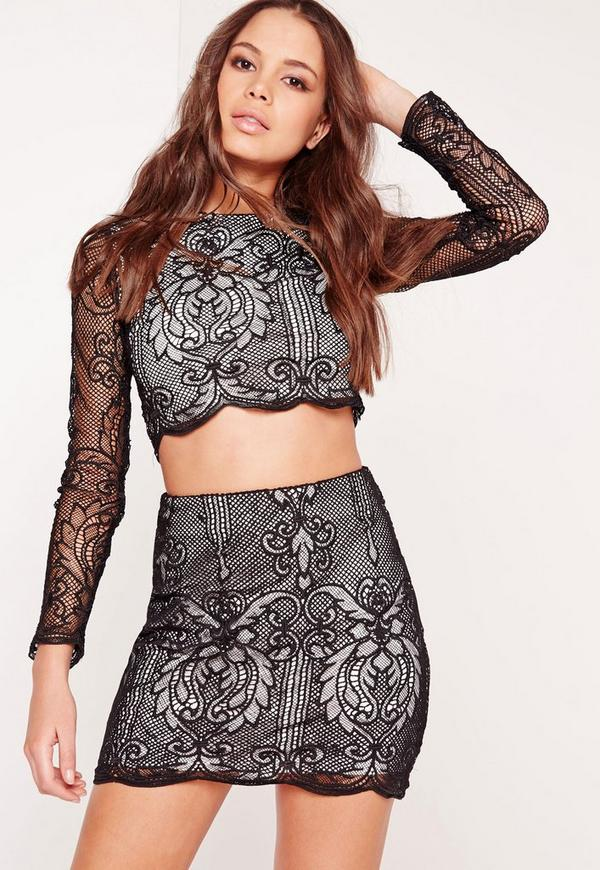 Lace A Line Mini Skirt Black