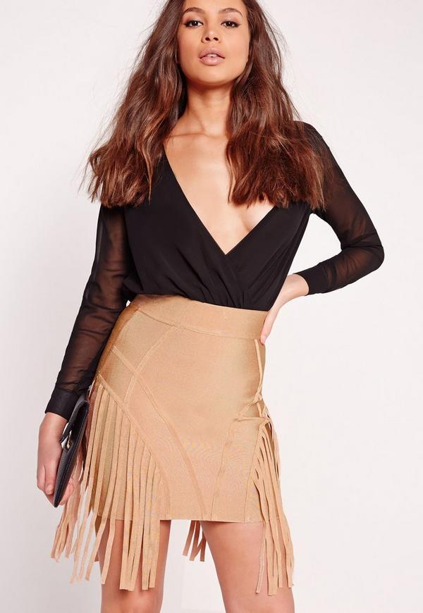 Premium Panel Bandage Mini Skirt Camel