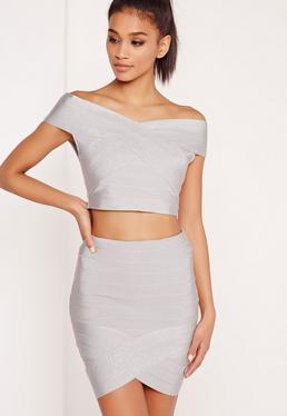 Premium Bandage Wrap Mini Skirt Silver
