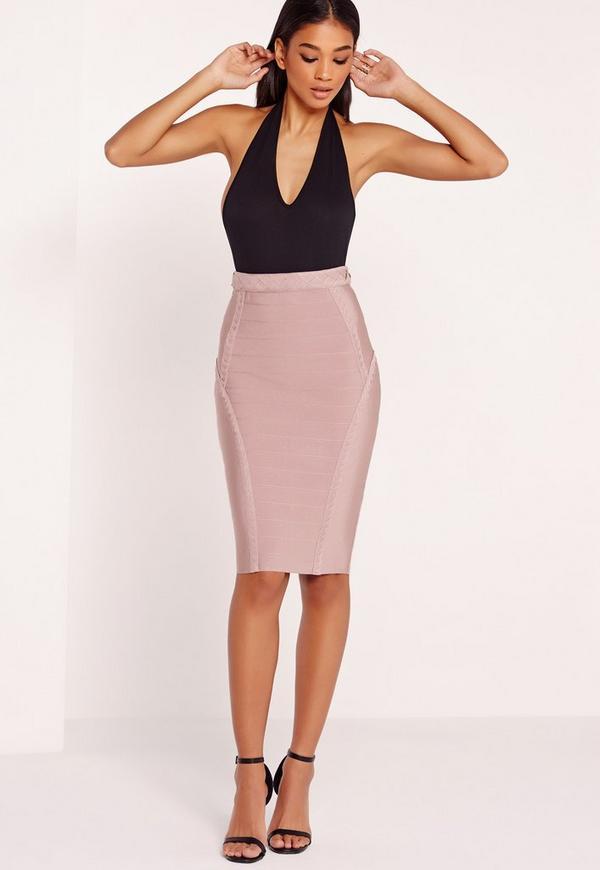 premium plait detail bandage midi skirt purple missguided