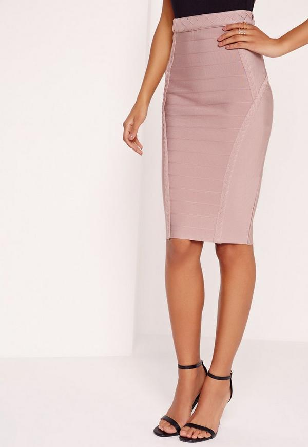 Premium Plait Detail Bandage Midi Skirt Purple