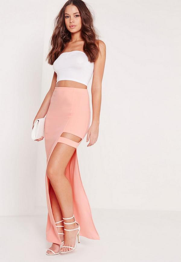 Cut Out Detail Maxi Skirt Pink