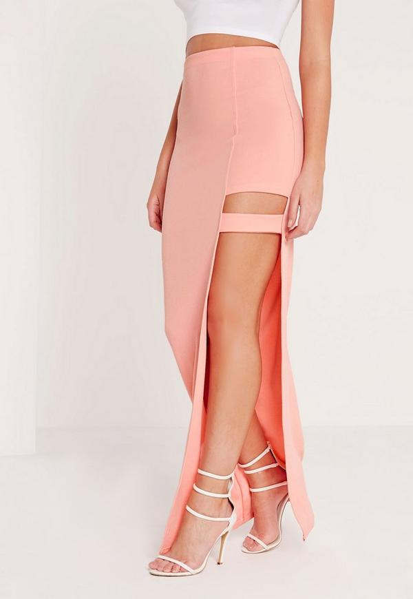 cut out detail maxi skirt pink missguided