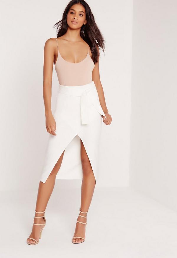 Tie Wrap Front Midi Skirt White