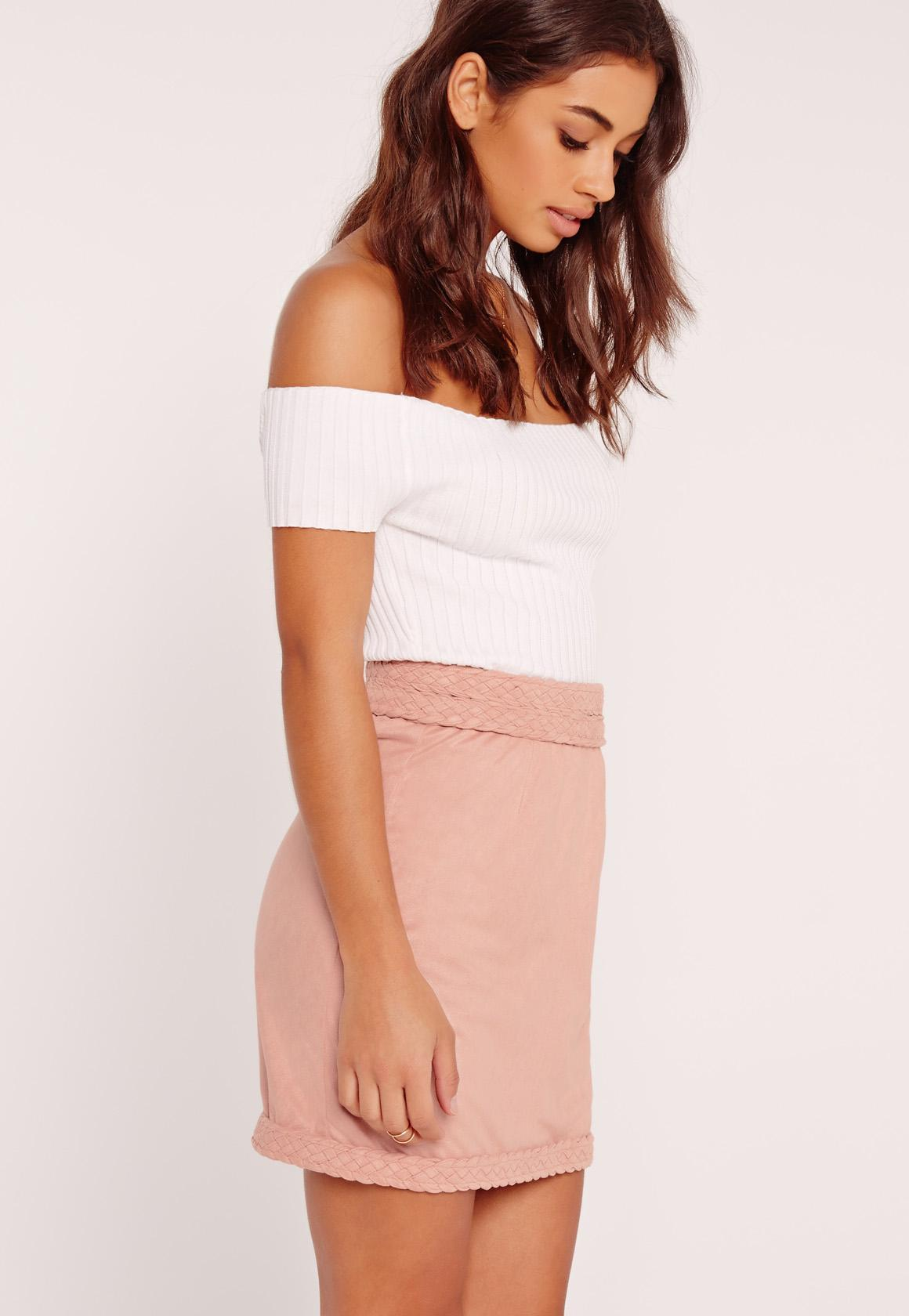 Plait Detail Faux Suede Mini Skirt Pink | Missguided