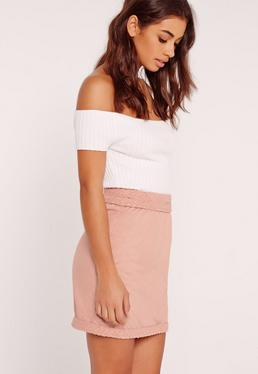 Plait Detail Faux Suede Mini Skirt Pink
