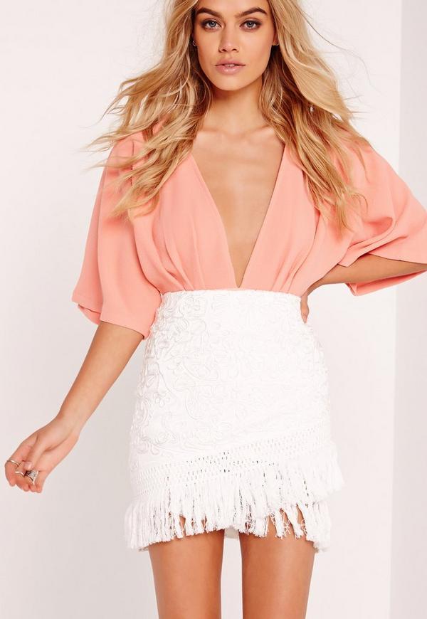 Cornelli Tassel Wrap Mini Skirt White