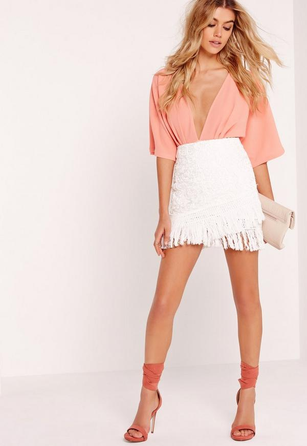 Cornelli Tassel Wrap Mini Skirt White | Missguided