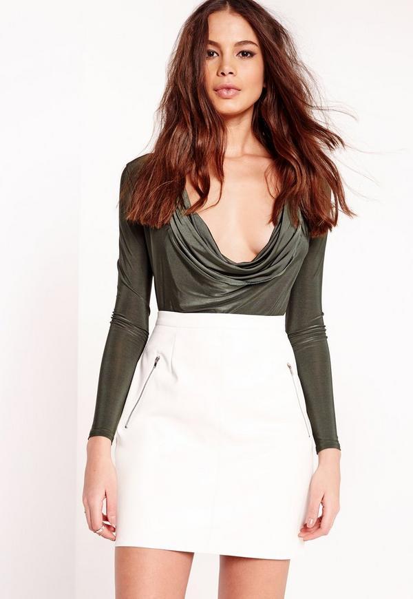 White Leather Mini Skirt 64