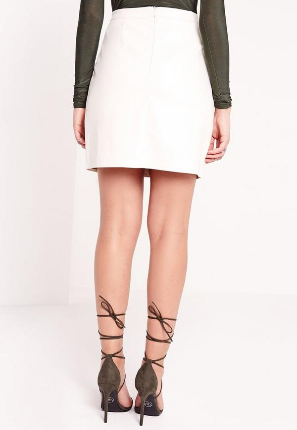 zip front faux leather mini skirt white missguided