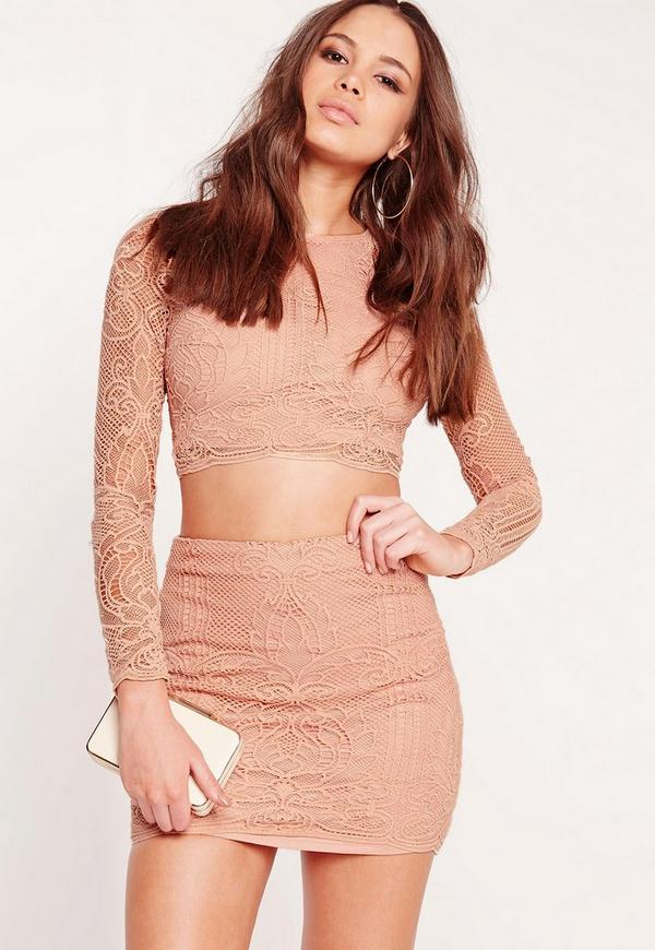 Lace A Line Mini Skirt Nude