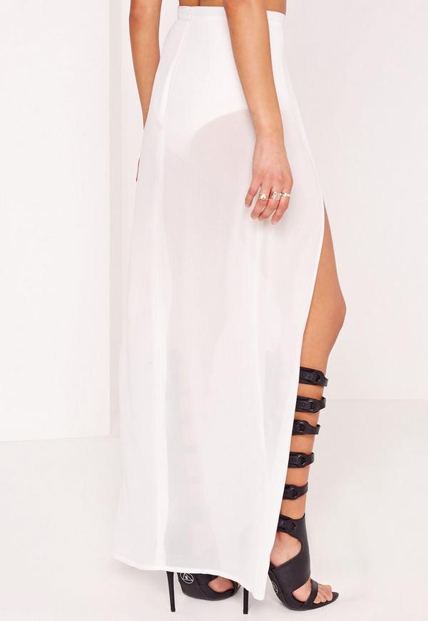 layer detail maxi skirt white missguided australia