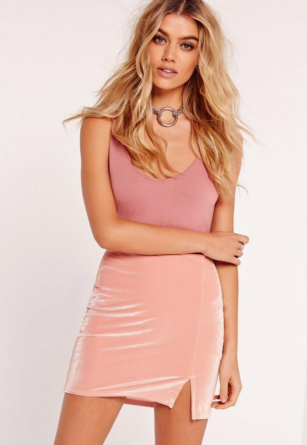 Split Front A Line Mini Skirt Pink