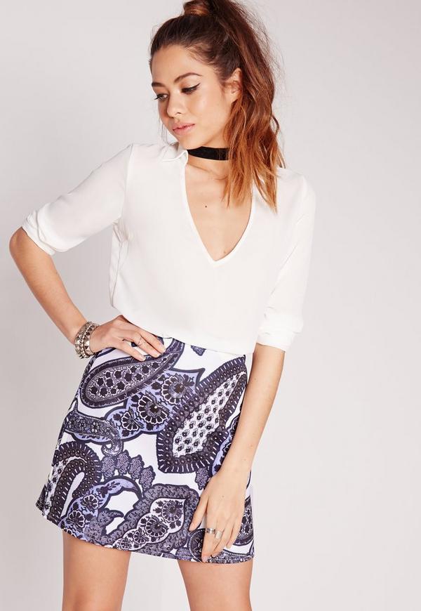 Paisley Print Scuba A-Line Skirt Blue