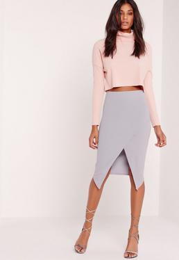 Wrap Over Midi Skirt Lilac