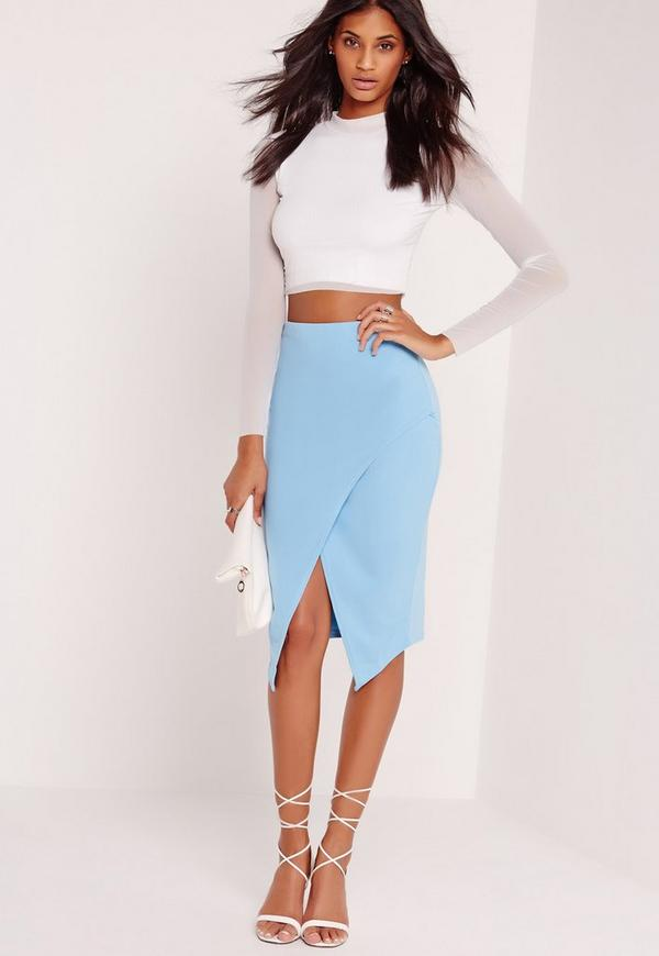 Wrap Over Midi Skirt Blue - Missguided