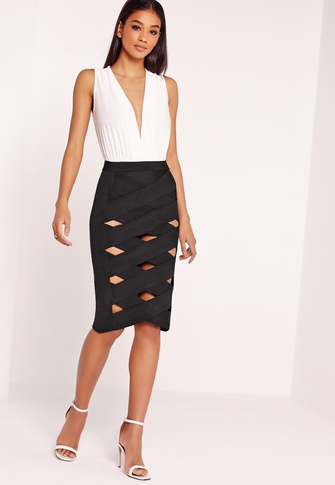 Bandage Lattice Midi Skirt Black | Missguided