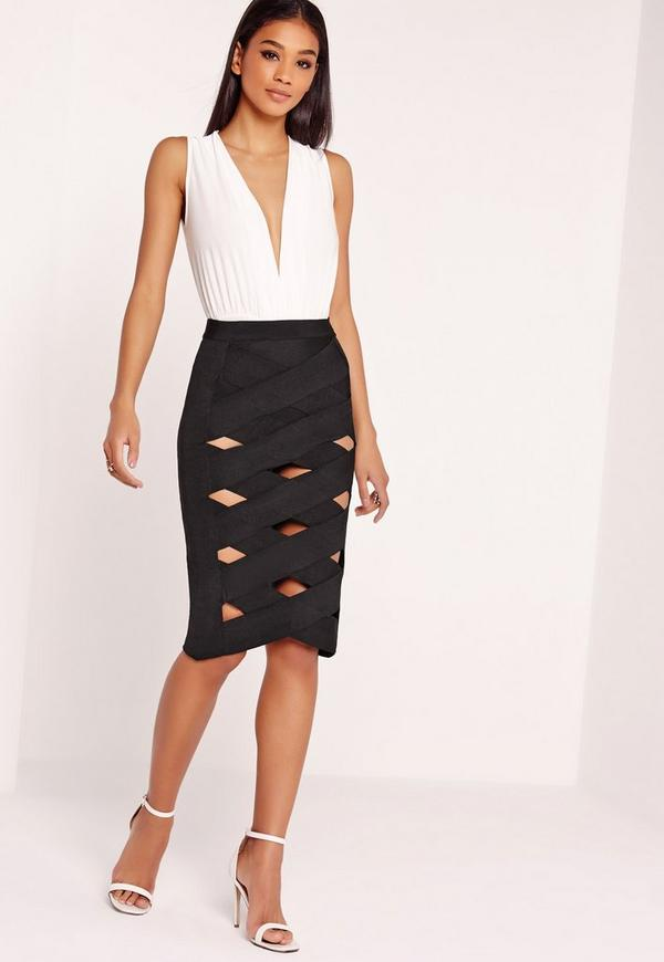Bandage Lattice Midi Skirt Black