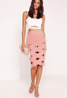 bandage lattice skirt midi pink