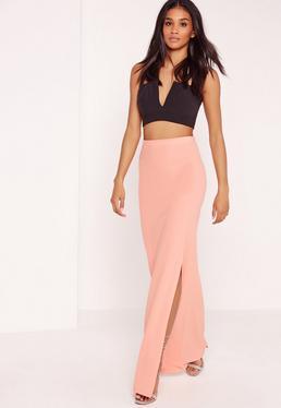 Maxi Crepe Skirt Pink